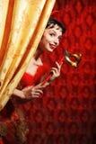 red för maskering för karnevalklänninglady fotografering för bildbyråer