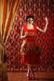 red för maskering för karnevalklänninglady arkivfoton