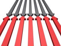 red för opposition för facing för pilblackconflict royaltyfri illustrationer