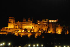 red för slottheidelberg natt Arkivbilder