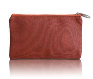 Red fabric bag with zipper Stock Photo