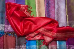 Red fabric on the counter Royalty Free Stock Photos