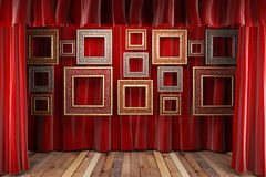 Red fabric curtain with frames Royalty Free Stock Photo