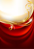 Red fabric curtain on gold background Royalty Free Stock Photography