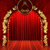 Red fabric curtain with gold Stock Images