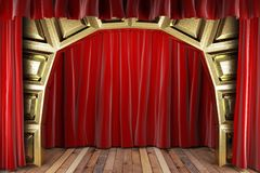 Red fabric curtain Stock Photography
