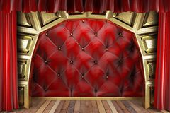 Red fabric curtain Stock Photos