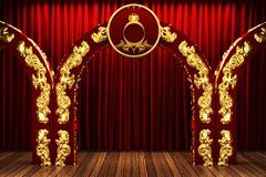 Red fabric curtain on golden stage Stock Photos