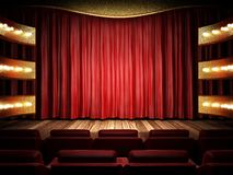 Red fabric curtain on golden stage Stock Images