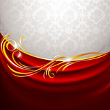 Red fabric curtain on gray background stock illustration