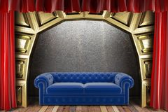 Red fabric curtain and sofa Royalty Free Stock Images