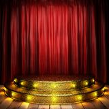 Red fabric curtain on stage Royalty Free Stock Photo
