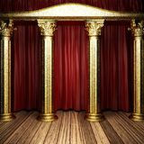 Red fabric curtain on stage Stock Images