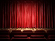 Red fabric curtain on stage Royalty Free Stock Images