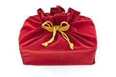 Red fabric gift bag isolated Royalty Free Stock Photography