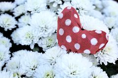 Red fabric heart Stock Photos