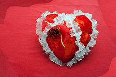 Red fabric heart Royalty Free Stock Photography