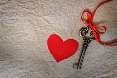 Red fabric heart and key Stock Images