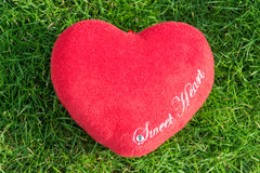 Red fabric heart love on green grass. Red fabric heart love on grass Stock Photo
