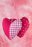 Red fabric hearts Royalty Free Stock Images