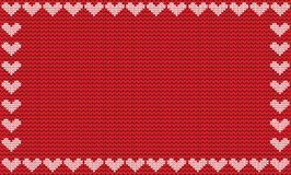 Red fabric knitted background framed with knit hearts. Vector illustration, template, poster with space for text Royalty Free Stock Images