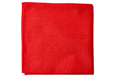 Red fabric napkin on white Stock Photos
