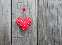 Red Fabric Polka Dot Heart Stock Photos