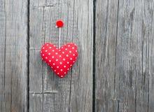 Red Fabric Polka Dot Heart Stock Photos