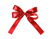 Red fabric ribbon and bow isolated on a white background Stock Photos