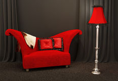 Red fabric sofa. Textured and curved sofa Royalty Free Stock Images