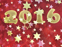 2016 on red fabric with stars Royalty Free Stock Image