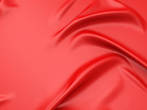 Red fabric texture folds background. 3d render illustration Stock Images