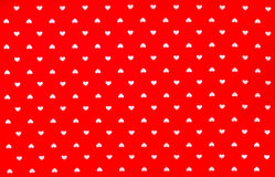 Red Fabric with white hearts pattern, texture, background Royalty Free Stock Images