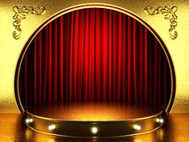 Red fabrick curtain with gold Royalty Free Stock Photography