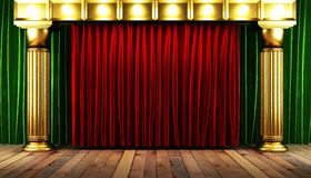Red fabrick curtain with gold Stock Images