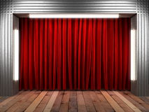 Red fabrick curtain on stage Royalty Free Stock Image