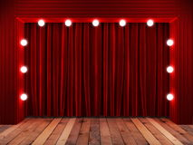 Red fabrick curtain on stage Royalty Free Stock Photos