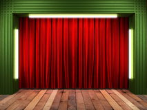 Red fabrick curtain on stage Royalty Free Stock Photo