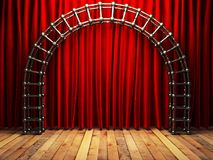 Red fabrick curtain on stage Stock Images