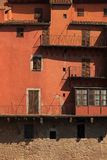 Red facade of the old houses Stock Photo