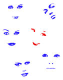 Red face. Woman's faces - comic cartoon and  characters Stock Image