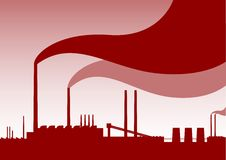 Red factory. Red silhouette of factory with smoke Royalty Free Stock Images