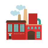 Red factory building icon Stock Images