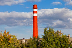 Red factory chimney Royalty Free Stock Photography