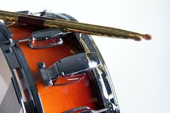Red Fade Snare Drum and Sticks Stock Photos