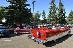 1958 Red Fairlane 500 Convertible. BISMARCK, NORTH DAKOTA, August 1, 2015:  The Mustang and Ford car show takes place yearly on the capital grounds during the Stock Photo