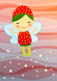 Red fairy on abstract background. Cute red firefly fairy  flaying on abstract background leaving a stray of magic shiny stars Royalty Free Stock Photo