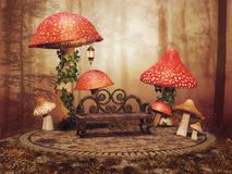 Red fairy mushrooms in a forest Royalty Free Stock Images