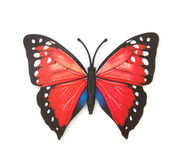 Red fake butterfly isolated Royalty Free Stock Images