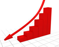 Red fall graph with a wire vector illustration